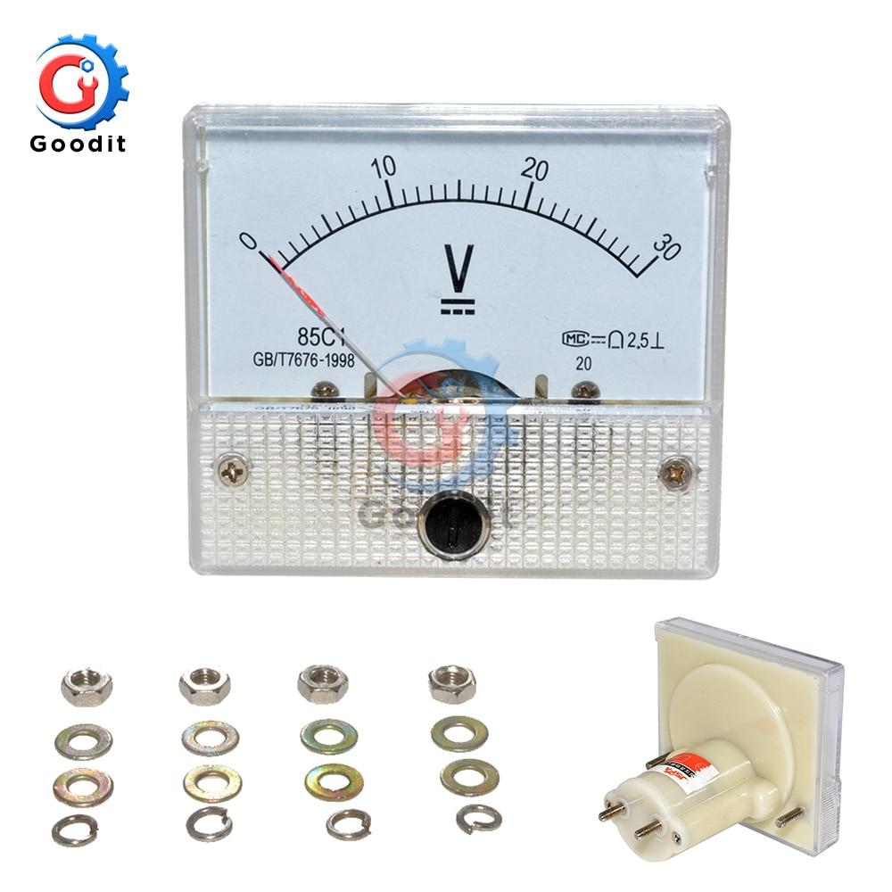 85C1 DC Analog Voltmeter Meter Panel 30V 50V 85C1 Pointer Gauge Panel Amp Volt Voltage Digital Display