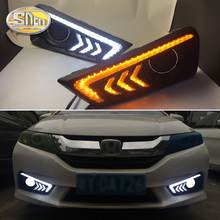 Yellow turn Signal style Relay 12V LED Car DRL Daytime Running lights Daylight with Fog Lamp hole For Honda city 2015 2016 car stlying led car drl daytime running lights with fog lamp hole for kia sorento 2015 2016 2pcs
