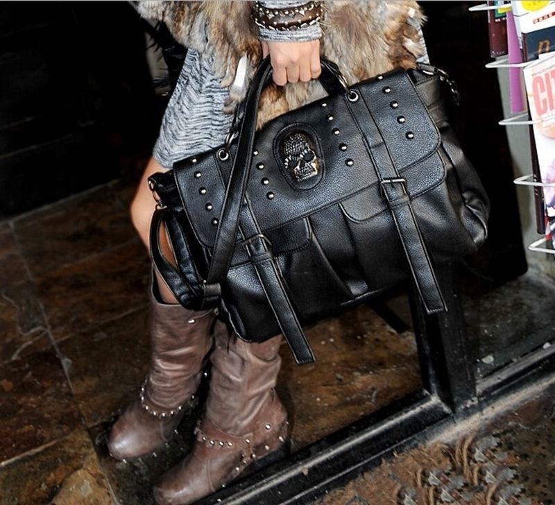 Vintage Womens Skull Top Handle Shoulder Bag Satchel Tote Purse Handbag