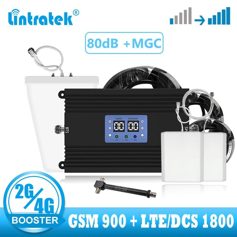 Lintratek 2g 4g Signal Booster Amlifier Gsm 900 1800 LTE 4G Signal Booster Cellular Amlifier GSM Voice DCS 4G  Internet Repeater