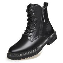 Anglia projektant mężczyźni modne buty motocyklowe czarne jesienne buty zimowe platforma bottes hommes kostki botas de homens chaussure cheap RAINTAKI CN (pochodzenie) Prawdziwej skóry Skóra bydlęca ANKLE Stałe Dla dorosłych Okrągły nosek RUBBER Zima Niska (1 cm-3 cm)