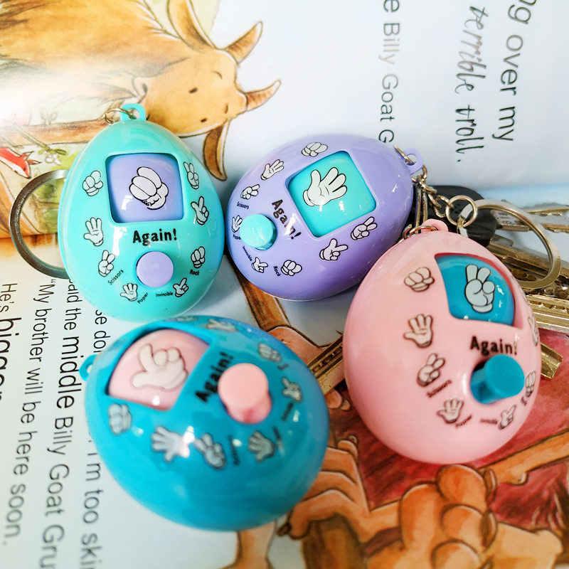 JIMITU nuevo juego de preguntas extraño huevo llavero descompresión de mano pequeño juguete tijeras piedra tela cara torcida puesto de huevo