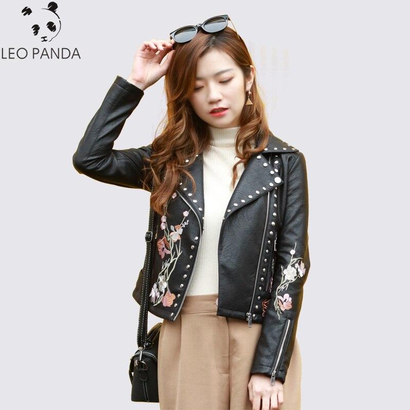 2019 spring new embroidered   leather   female Slim short rivet PU wash fashion ladies large size coat