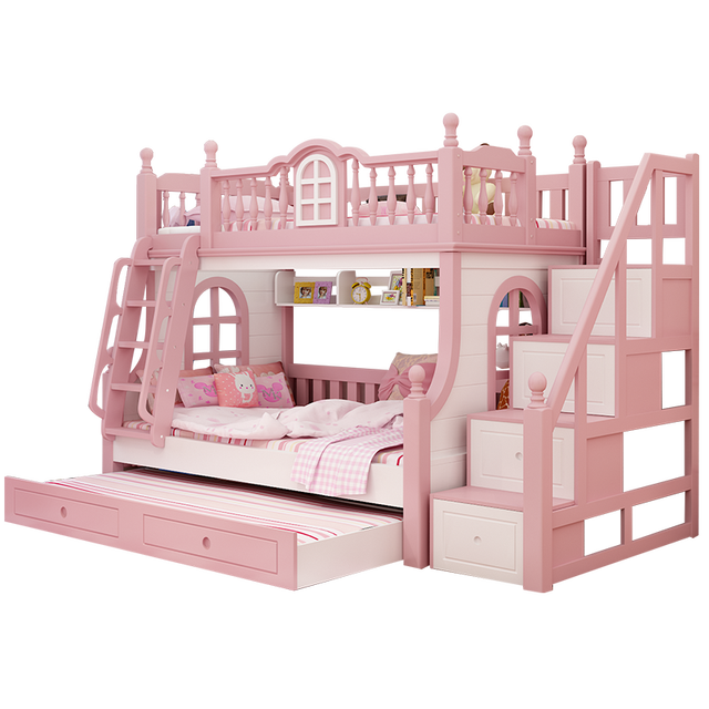 US $1900.0 |Foshan modern oak wood children 3 foors bed with stairs bunk  beds kids bedroom furniture sets for boys & girls on AliExpress