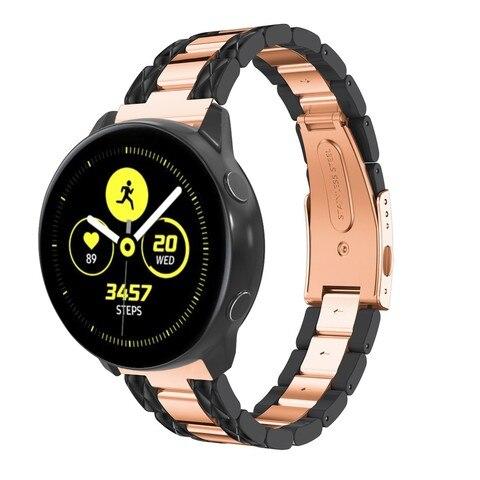 para Samsung Galaxy Pulseira de Aço Inoxidável para Garmin Relógio Ativo Strap 20mm Resina Pulseira Vivoactive 3 – Ticver 2 40 Ver