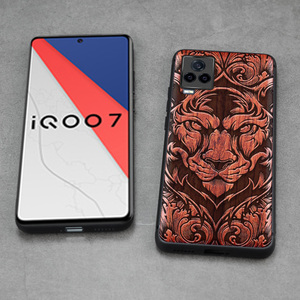Image 3 - Carveit Wooden Cases For VIVO iQOO 7 Real Wood Covers TPU Silicone Shell 3D Carved Thin Accessories Protective Luxury Phone Hull