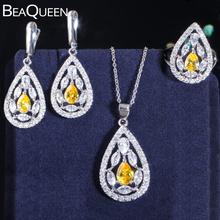 BeaQueen Turkish Yellow Gemstone Jewelry Sets Cubic Zircon Earring Necklace Ring for Women 925 Sterling Silver Jewellery JS070 beaqueen luxurious african cubic zirconia beads jewelry set nigerian wedding yellow bridal jewellery sets for women js091