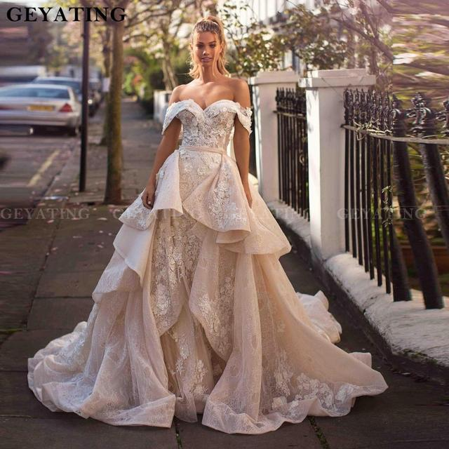 2020 Off The Shoulder Detachable Wedding Dress Train Champagne Lace Appliques Mermaid Wedding Dresses Ruffles Vestidos de novia
