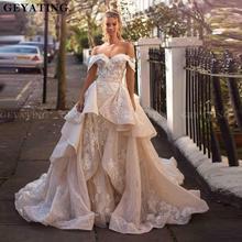 Vestido de novia desmontable con hombros descubiertos, cola de champán, Apliques de encaje, sirena, con volantes, 2020