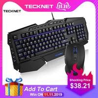 TeckNet Gaming Keyboard Mouse Combo Kit Ergonomic 7 Colors LED Backlit Rainbow USB Wired Gamer Set UK Layout for Windows PC