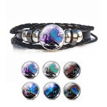 Dragon Bracelet Pterosaur Snap Button Steampunk Braided Black Leather Men Gifts for Him