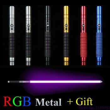 11 renk Lightsaber RGB Jedi Sith ışık kılıç Force FX aydınlatma ağır düello renk değişen ses odak kilit Metal kolu
