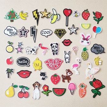 Christmas tree Star Patch Embroidery Patches For Clothing Cute Cat Animal Iron On Clothes fruit Watermelon Sticker