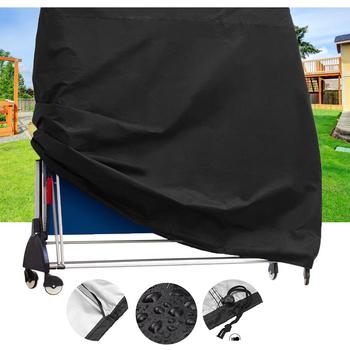 Czarny materiał na zasłony na zewnątrz stół do kurzu stół do tenisa stołowego stół do kurzu na zewnątrz pyłoszczelna obrus ogrodowy obrus tanie i dobre opinie Oxford folding ping pong table cover