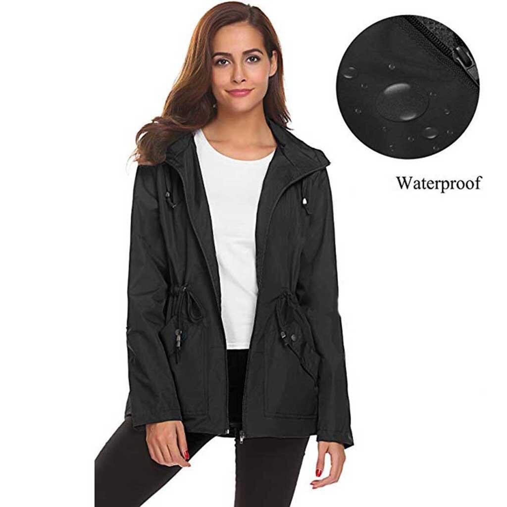 Ladies' Outdoor Waterproof Jacket Hooded Jacket Womens Outside Waterproof Lightweight Raincoat Hooded Overcoat Rain Jacket(China)