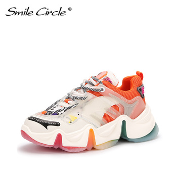 Smile Circle fashion sports slingback shoes ladies shoes flat sneakers strap casual shoes thick bottom 5cm summer sports shoes