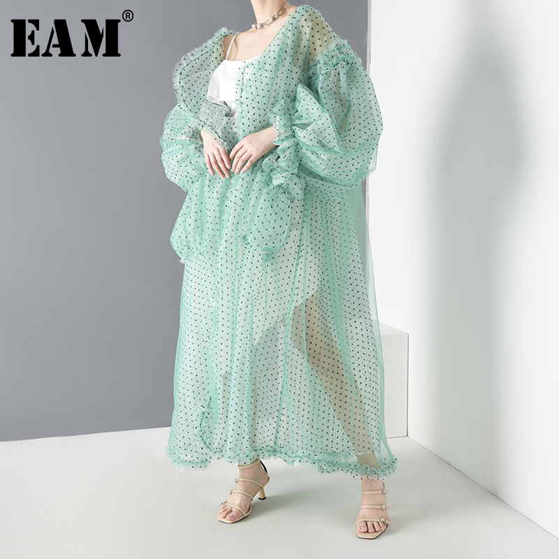 [EAM] Women Green Mesh Perspective Long Big Size Blouse New Long Sleeve Loose Fit Shirt Fashion Spring Summer 2020 JF39406