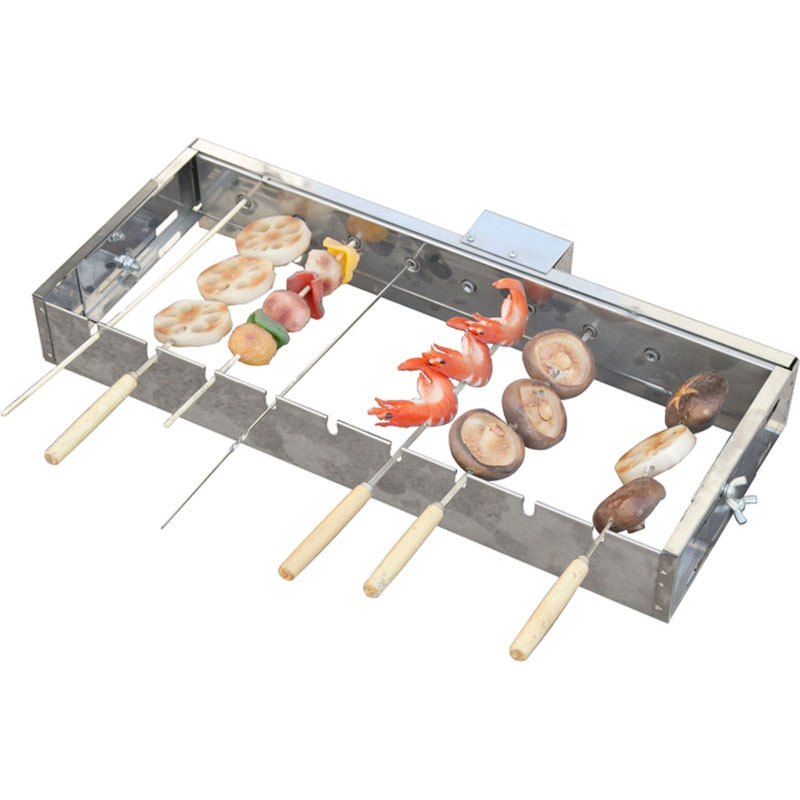 Butterfly Roasted Fully Automatic Barbecue Flipping Shelf Adjustable Width Rolling Skewers Machine 5V Can Be Connected Charger A