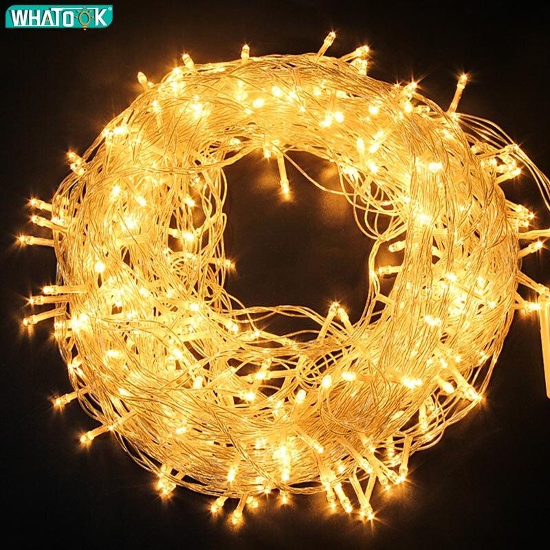 220V guirnalda de luces LED Navidad guirnaldas de luces para exterior guirnalda 10M 20M 30M 50M 100M impermeable boda árbol de fiesta de vacaciones lámpara UE