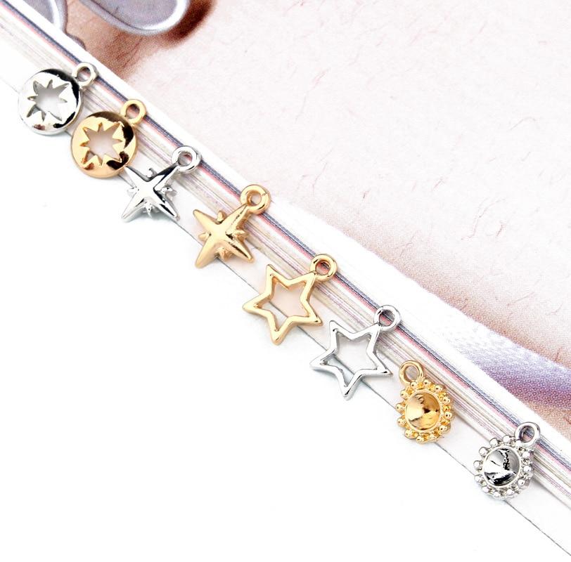 10pcs Minimalism Small Mini Alloy Hexagram Star Earring Charms Connector Findings Eardrop Necklace Key Pendants Jewlery Making(China)