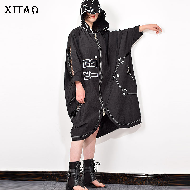 XITAO Trend Hollow Stitching Trench Coat For Women Irregular Plus Size Loose Windbreaker Fashion Hooded Tops Women XJ3585