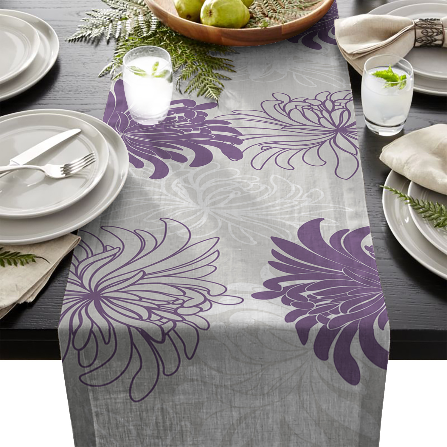 Purple White Flower Chrysanthemum Dahlia Table Runner Table Flag Home Party Decorative Tablecloth Table Runners For Wedding