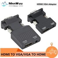 VGA zu HDMI-kompatibel Konverter Adapter 1080P VGA Adapter Für PC Laptop zu HDTV Projektor Video Audio HDMI-kompatibel zu VGA
