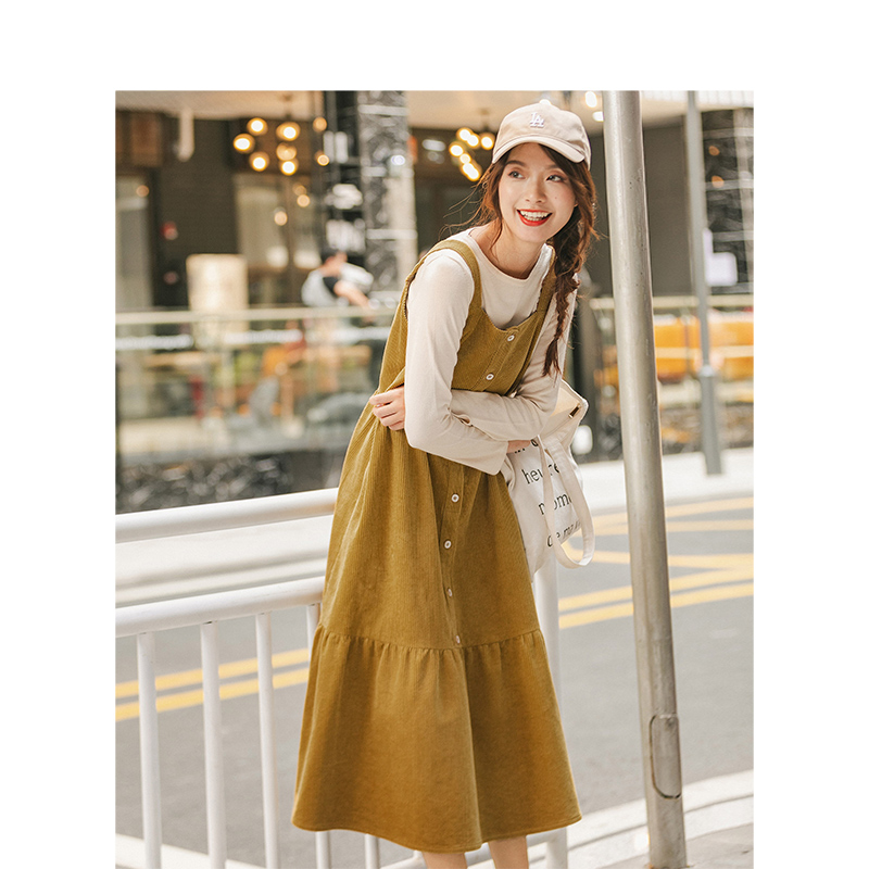 INMAN 2020 Autumn New Arrival Vintage Literature Sweet Romantic A-line Corduroy Suspender Dress