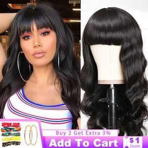 Full Machine Made Wig Body Wave Wigs Human Hair Remy Hair Long Hair Natural Color Wig With Bangs For Black Women Brazilian Hair