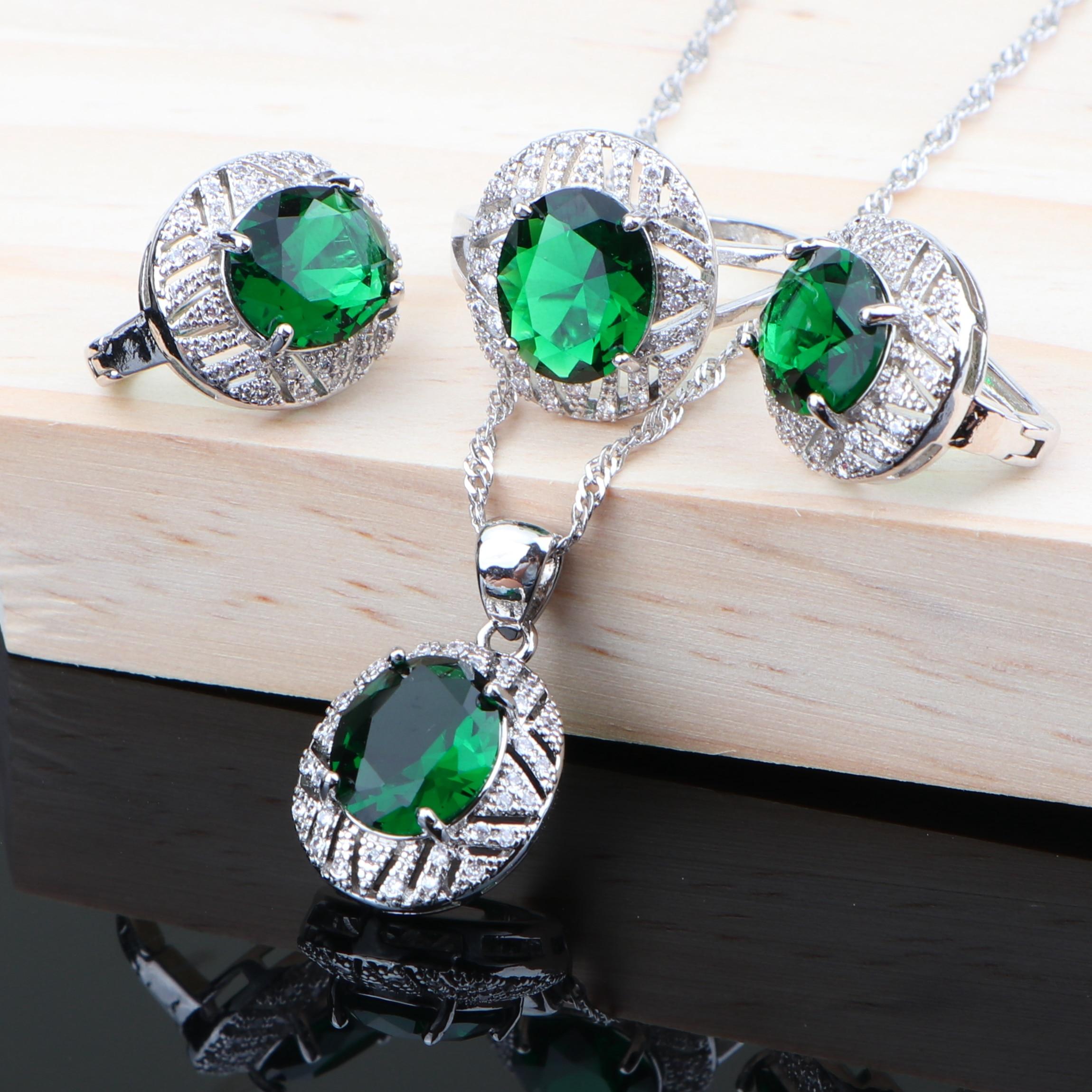 Earrings Necklace Pendant-Set Jewelry Rhinestone Zirconia-Ring Bridal-Girls Silver 925