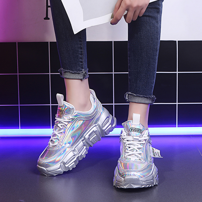 Rimocy Silver Laser Chunky Sneakers Women Spring 2020 Fashion Patent Leather Platform Vulcanize Shoes Woman Tenis Feminino Green