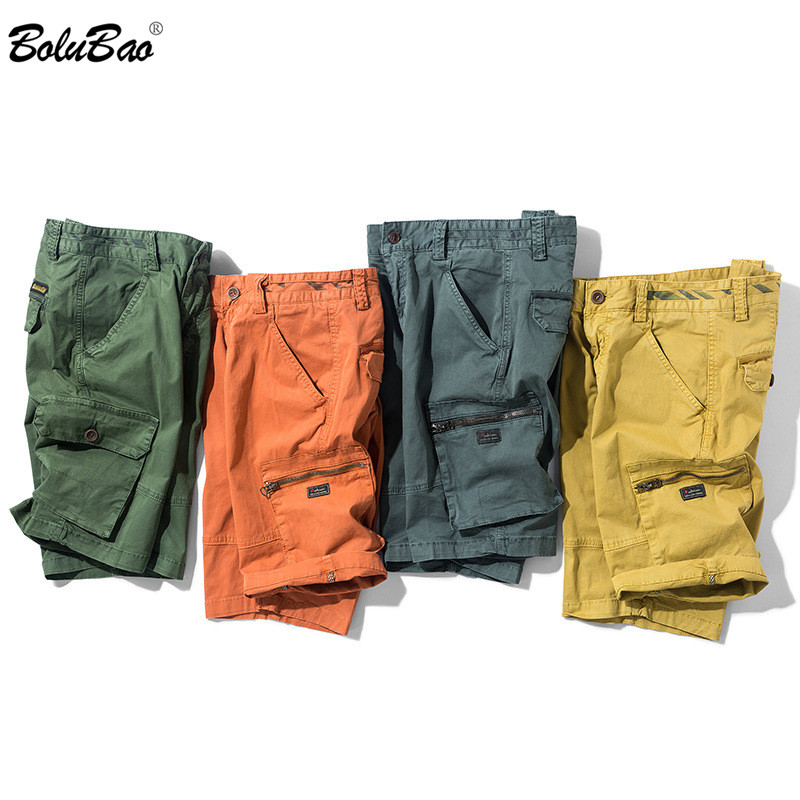 BOLUBAO Brand Men Straight Shorts Summer New Men's Outdoor Solid Color Cargo Shorts Male Casual Knee Length Shorts (No Belt)