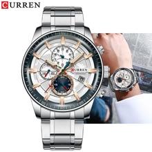 CURREN montre à Quartz pour hommes, chronographe, en acier inoxydable, étanche, horloge de sport, Business, nouvelle collection