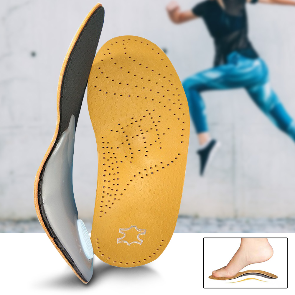 1 Pair Leather Orthotics Insole For Flat Foot Arch Support 25mm Orthopedic Silicone Feet Cushion Pads Care Insoles Men And Women
