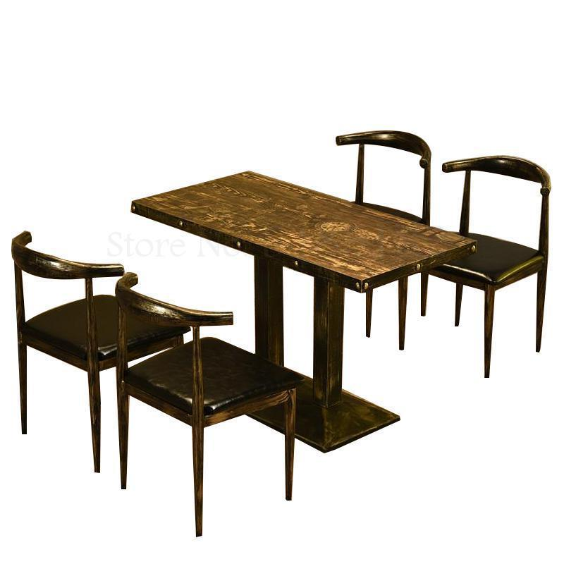Retro Theme Cafe Restaurant Table Dessert Snack Barbecue  Milk Tea Hot Pot  Fast Dining  And Chair Comb