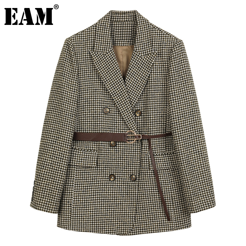 [EAM] Loose Fit Brown Plaid Double Breasted Big Size Woolen Coat Parkas New Long Sleeve Women Fashion Autumn Winter 2021 1DC025