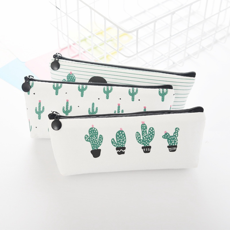 Mini Charge Pouches School Cute Cactus Pencil Storage Bag Canvas School Students Supplies Stationery Organizer in Storage Bags from Home Garden