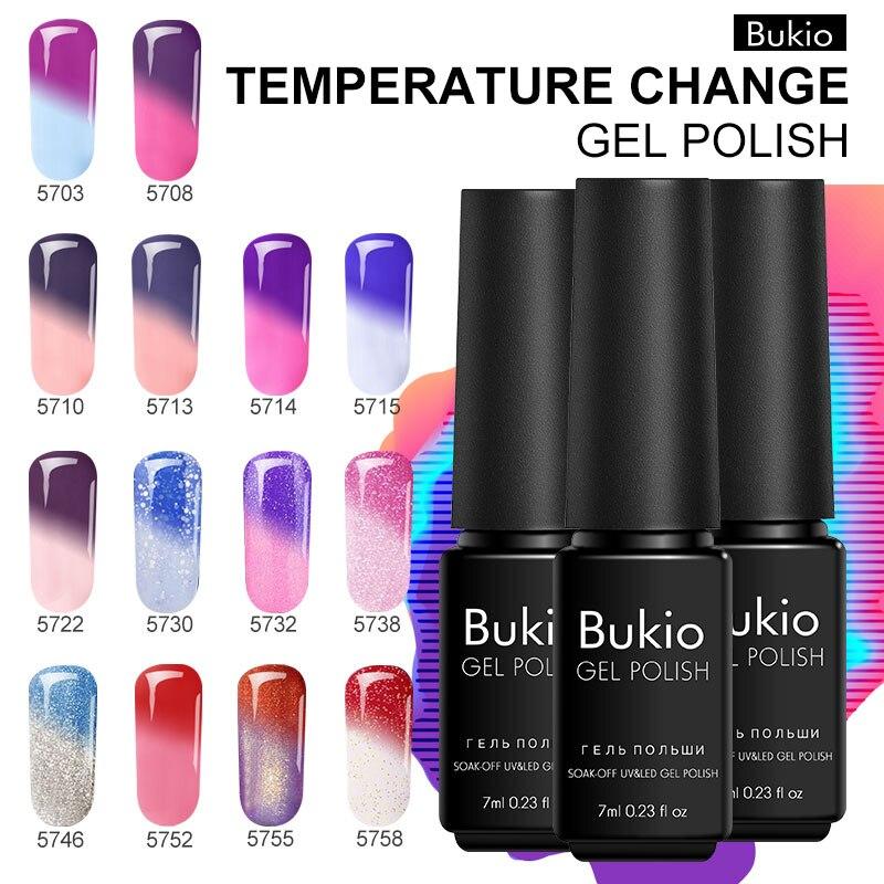 Bukio Good Quality Temperature Change Color UV Gel Nail Art Polish Bling Enamel Thermo Varnish Hybrid Thermal Chameleon Nail Gel