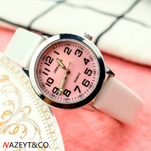 NAZEYT children leather watch little boys girls luminous hands pink face easy le