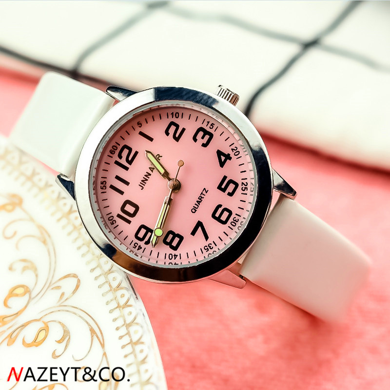 NAZEYT Children Leather Watch Little Boys Girls Luminous Hands Pink Face Easy Learn Time Analog Clock Kids Birthday Gift Watch