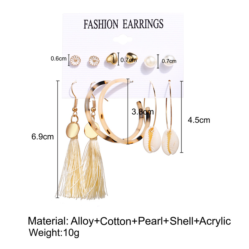 H2568f85b10274214a7b1722c61993f65p - IF ME Fashion Vintage Gold Pearl Round Circle Drop Earrings Set For Women Girl Large Acrylic Tortoise shell Dangle Ear Jewelry