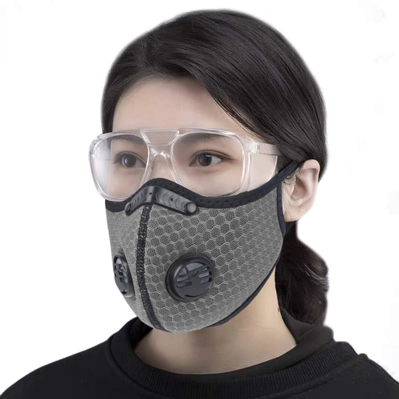 PM2.5 Filter Dust Mask Anti-fog Windproof  Mouth Double Valve Mask Dust Respirator Washable Reusable Bike Face Mask Breathable