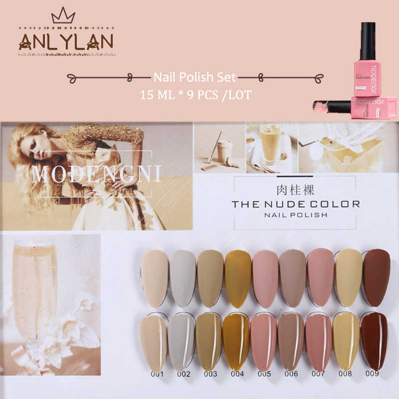 Anlylan 15 Ml Glitter Uv Gel Nail Polish Nude Warna Seri LED Nail Gel Varnish Semi Permanen Cat Kuku Payet gel 9 Buah/Set