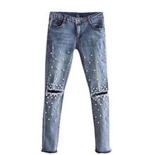 Knee Hole Torn Jeans Women Stretch Denim Pencil Casual Slim Fit Rivet Pearl Jeans Summer Long Pants Low Waist Cowboy Rk