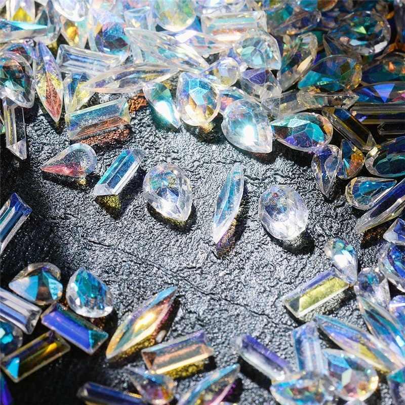 1แพ็คAB Flatbackเล็บRhinestones Diamond Teardropม้าคริสตัลหินเงาอัญมณีเล็บตกแต่งศิลปะ