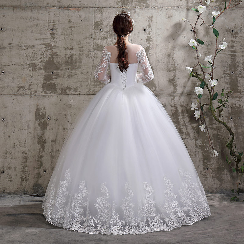 Xxn 112 Bride Wedding Dress Lace Full Sleeve Bandage Embroidered Lace On Net Ball Gown Lace,Formal Dresses For Wedding Guest Plus Size