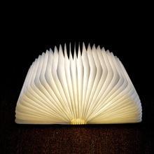 Купить с кэшбэком USB Rechargeable LED Foldable Wooden Book Shape Desk Lamp Nightlight Booklight for Home Decor Warm White Light Drop Shipping