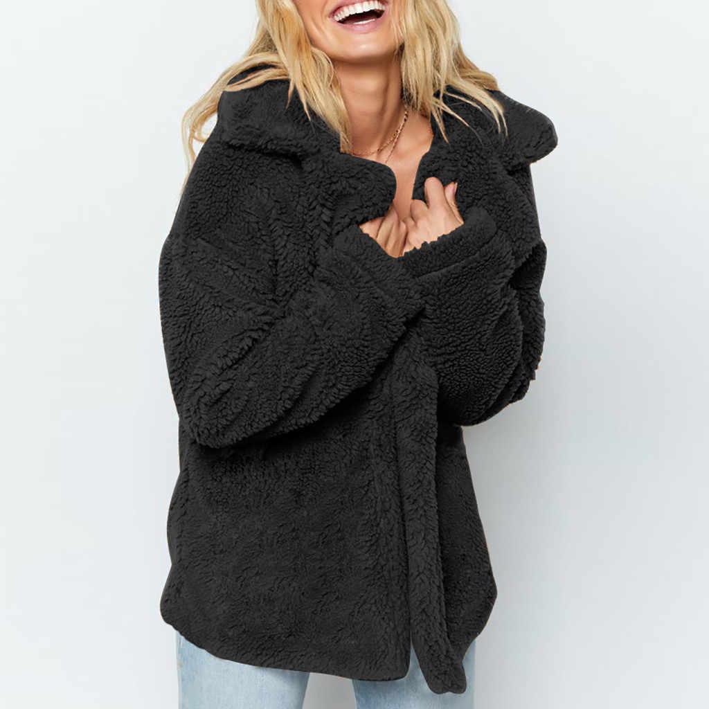 Warme Faux Pelz winter mantel frauen 2019 Mode Dicke Warme Mantel Dame Parka jaqueta Winter Drehen Unten Kragen Jaqueta Feminina