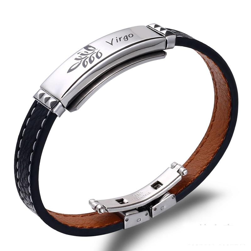 12 Constellation Handmade Leather Bangle Couple Retro Jewelry Zodiac Bracelet US