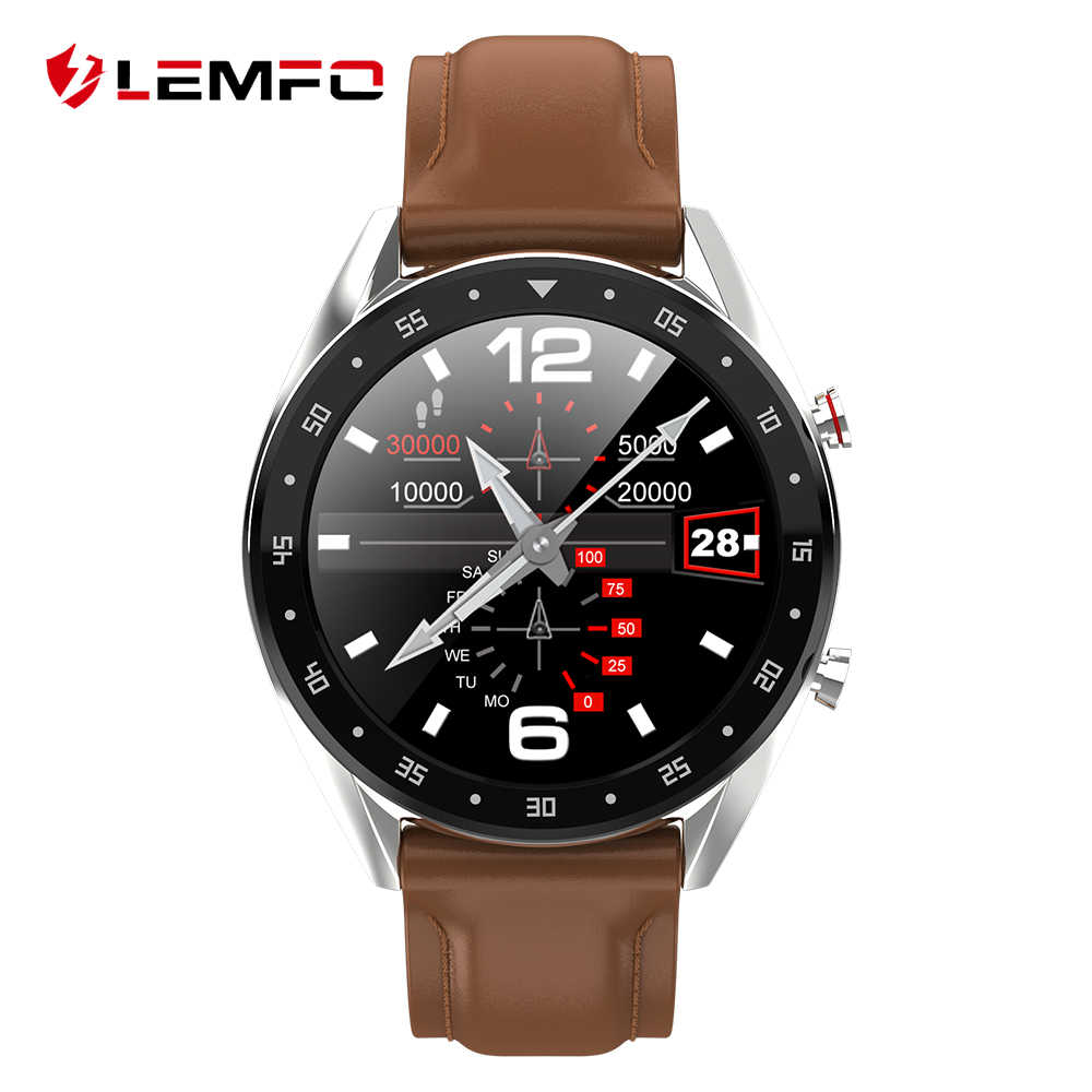 LEMFO 2019 Newest PPG + ECG Smart Watch Men Full Round Touch Screen Bluetooth Call Ip68 Waterproof Strap Replaceable Smartwatch